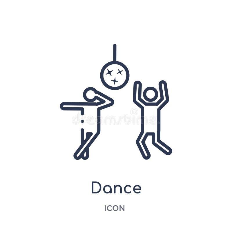 Icona lineare di ballo da spettacolo e dalla raccolta del profilo della galleria Linea sottile vettore di ballo isolato su fondo  illustrazione di stock