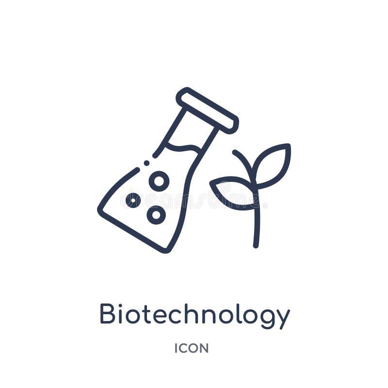 Icona lineare di biotecnologia dalla raccolta del profilo generale Linea sottile icona di biotecnologia isolata su fondo bianco illustrazione vettoriale