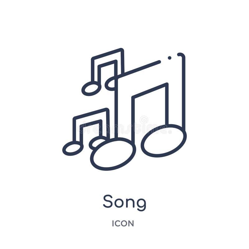 Icona lineare di canzone dalla raccolta del profilo di istruzione Linea sottile vettore di canzone isolato su fondo bianco illust royalty illustrazione gratis