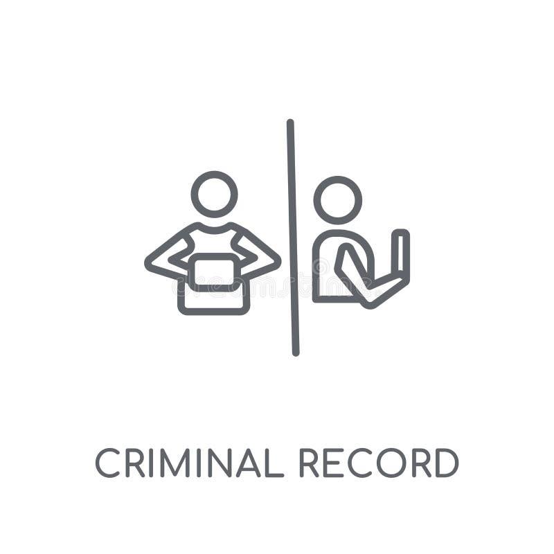 Icona lineare di casellario giudiziario Logo moderno di casellario giudiziario del profilo illustrazione vettoriale