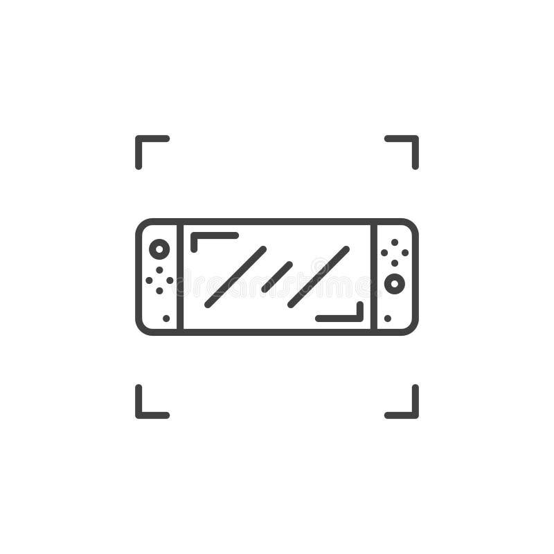 Icona lineare di concetto di vettore della console tenuta in mano del gioco illustrazione vettoriale