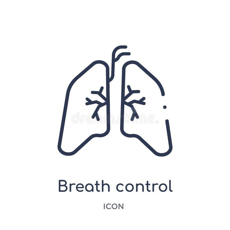 Icona lineare di controllo del respiro dalla raccolta medica del profilo Linea sottile icona di controllo del respiro isolata su  illustrazione di stock