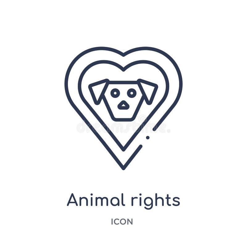 Icona lineare di diritti degli animali dalla raccolta del profilo di carità Linea sottile vettore di diritti degli animali isolat illustrazione di stock