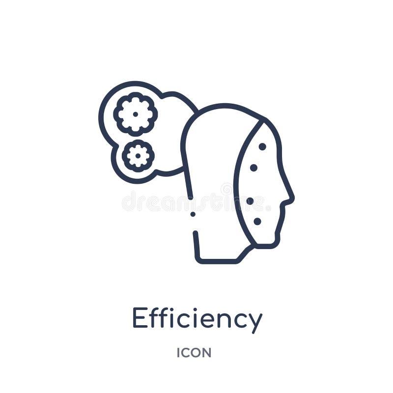 Icona lineare di efficienza dalla raccolta del profilo di intelligenza artificiale Linea sottile vettore di efficienza isolato su royalty illustrazione gratis