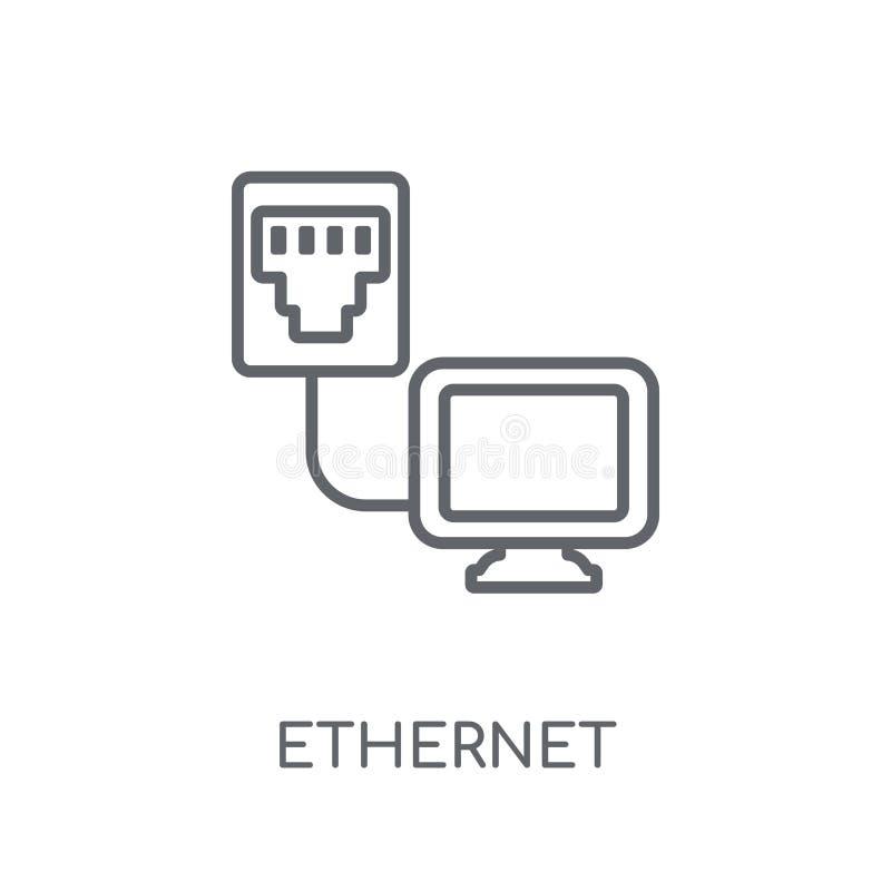 Icona lineare di Ethernet Concetto moderno di logo di Ethernet del profilo su wh illustrazione vettoriale