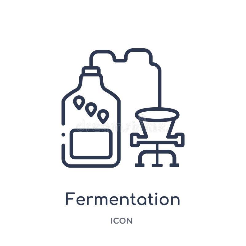 Icona lineare di fermentazione dalla raccolta del profilo dell'alcool Linea sottile vettore di fermentazione isolato su fondo bia illustrazione di stock