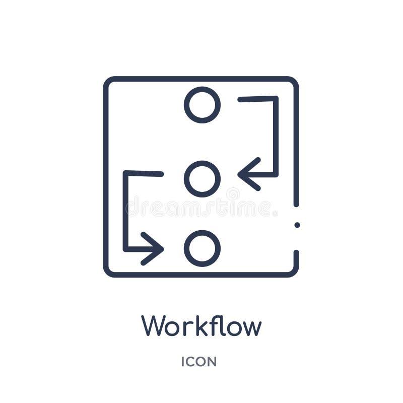 Icona lineare di flusso di lavoro dalla raccolta trattata creativa del profilo Linea sottile vettore di flusso di lavoro isolato  illustrazione vettoriale