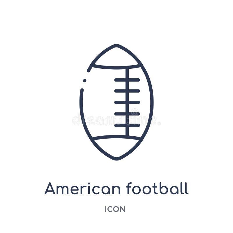 Icona lineare di football americano dalla raccolta del profilo di football americano Linea sottile vettore di football americano  royalty illustrazione gratis