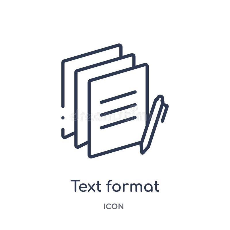 Icona lineare di formato di testo dalla raccolta contenta del profilo Linea sottile vettore di formato di testo isolato su fondo  royalty illustrazione gratis