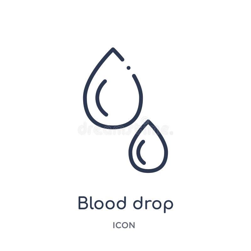 Icona lineare di goccia del sangue dalla raccolta igienico sanitaria del profilo Linea sottile icona di goccia del sangue isolata royalty illustrazione gratis