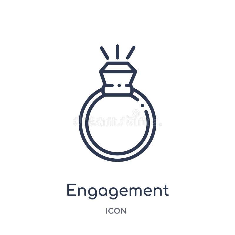 Icona lineare di impegno dalla raccolta del profilo dei gioielli Linea sottile icona di impegno isolata su fondo bianco impegno d royalty illustrazione gratis