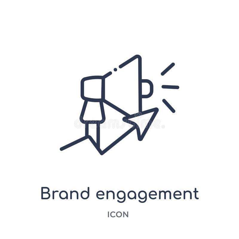Icona lineare di impegno di marca dalla raccolta del profilo generale Linea sottile icona di impegno di marca isolata su fondo bi royalty illustrazione gratis