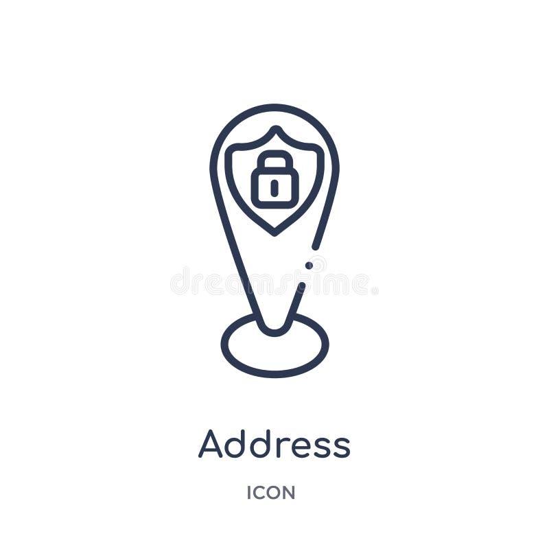 Icona lineare di indirizzo dalla raccolta del profilo di Gdpr Linea sottile icona di indirizzo isolata su fondo bianco illustrazi royalty illustrazione gratis