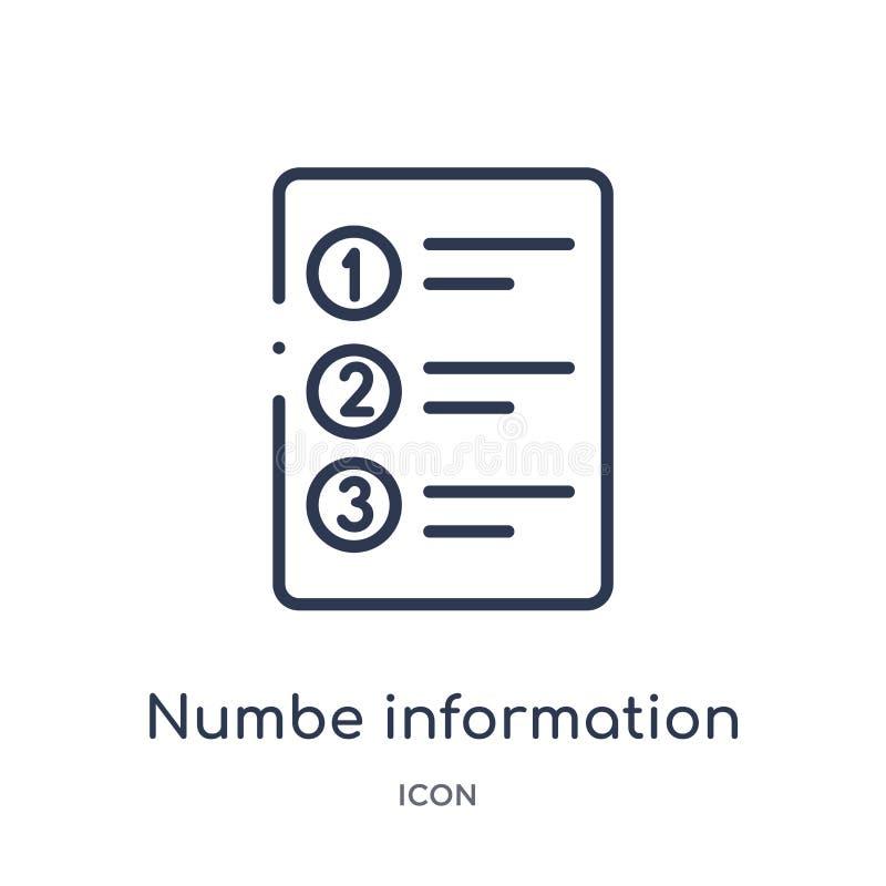 Icona lineare di informazioni del numbe dalla raccolta del profilo di affari Linea sottile icona di informazioni del numbe isolat royalty illustrazione gratis