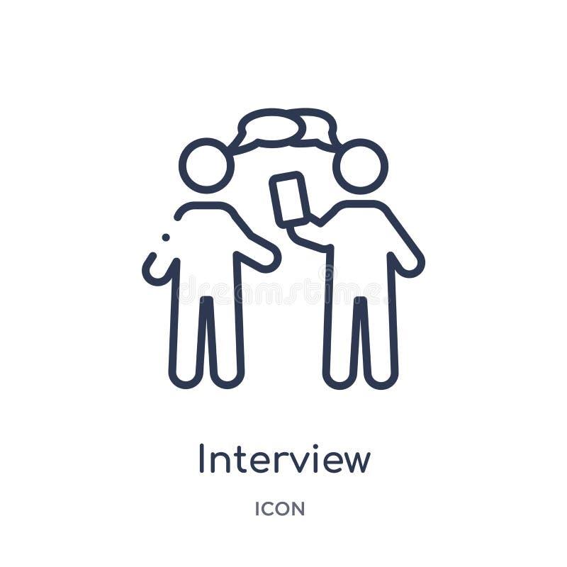 Icona lineare di intervista dalla raccolta del profilo delle risorse umane Linea sottile icona di intervista isolata su fondo bia illustrazione vettoriale