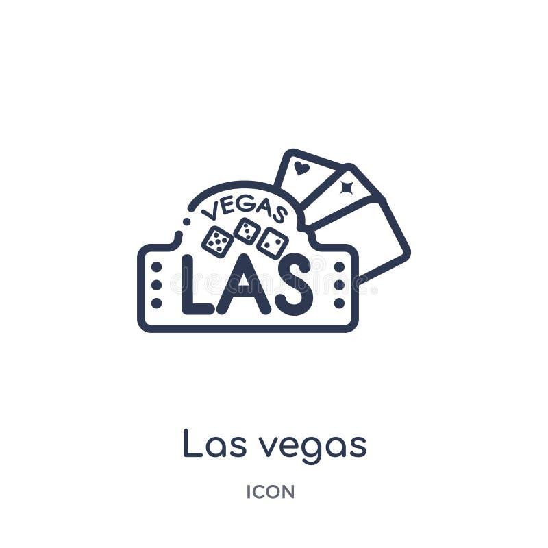 Icona lineare di Las Vegas raccolta dal profilo delle bandiere e delle mappe Linea sottile icona di Las Vegas isolata su fondo bi illustrazione vettoriale