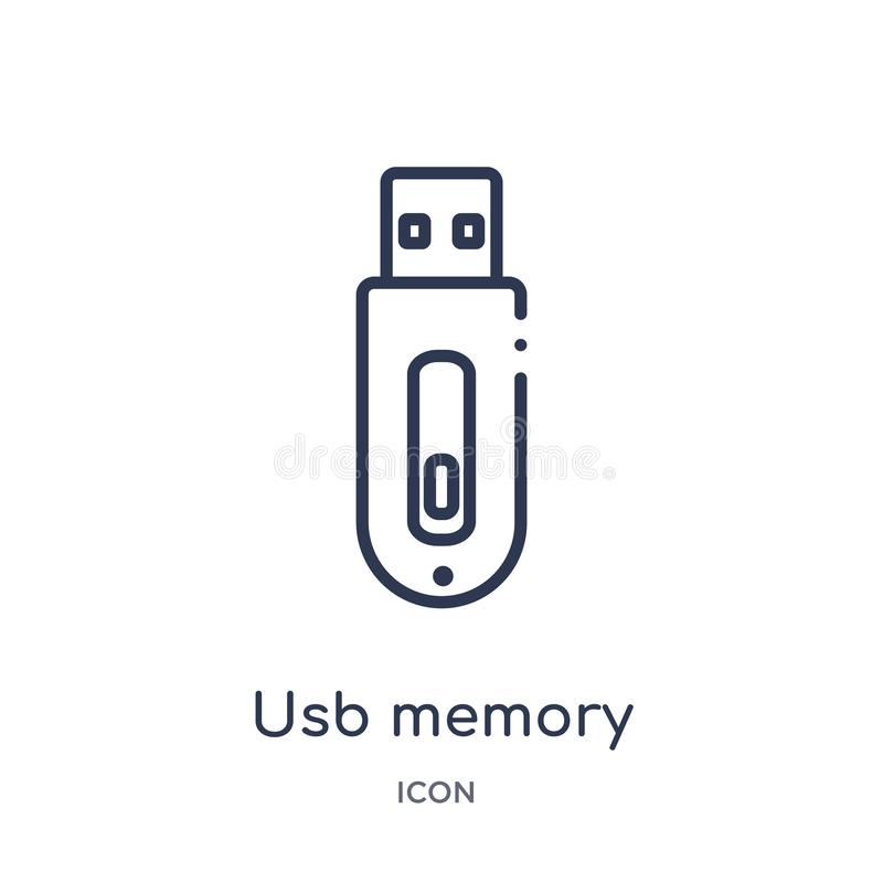 Icona lineare di memoria del usb dalla raccolta del profilo di elettronica Linea sottile icona di memoria del usb isolata su fond royalty illustrazione gratis