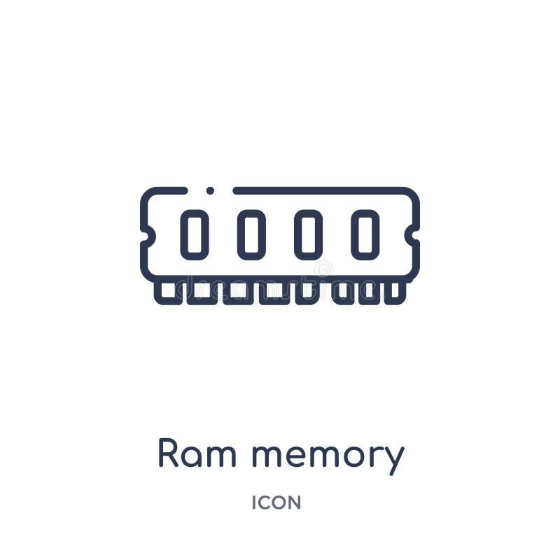 Icona lineare di memoria di ram dalla raccolta del profilo degli apparecchi elettronici Linea sottile vettore di memoria di ram i illustrazione vettoriale