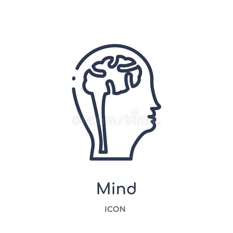 Icona lineare di mente dalla raccolta del profilo di processo del cervello Linea sottile vettore di mente isolato su fondo bianco royalty illustrazione gratis