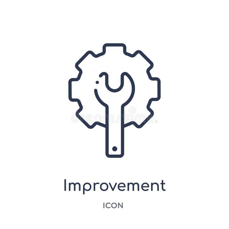 Icona lineare di miglioramento dalla raccolta del profilo degli strumenti e della costruzione Linea sottile icona di migliorament royalty illustrazione gratis