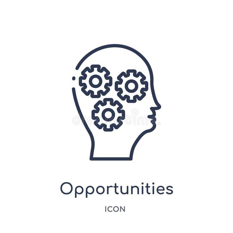 Icona lineare di opportunità dalla raccolta del profilo di processo del cervello Linea sottile vettore di opportunità isolato su  illustrazione di stock