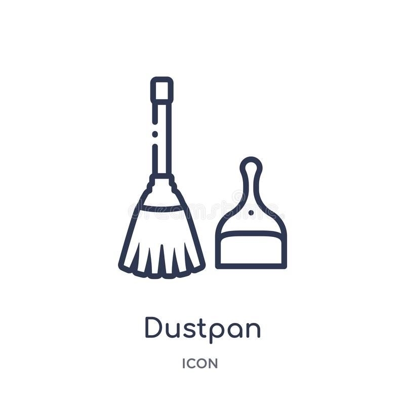 Icona lineare di paletta per la spazzatura dalla raccolta di pulizia del profilo Linea sottile vettore di paletta per la spazzatu illustrazione di stock