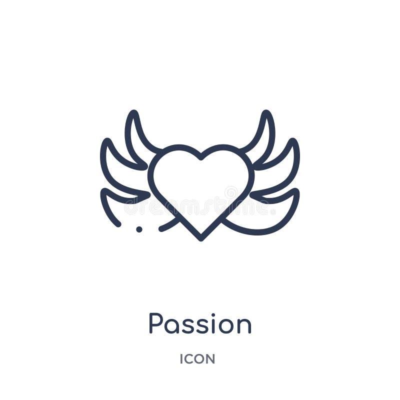 Icona lineare di passione dalla raccolta del profilo di etica Linea sottile vettore di passione isolato su fondo bianco passione  royalty illustrazione gratis