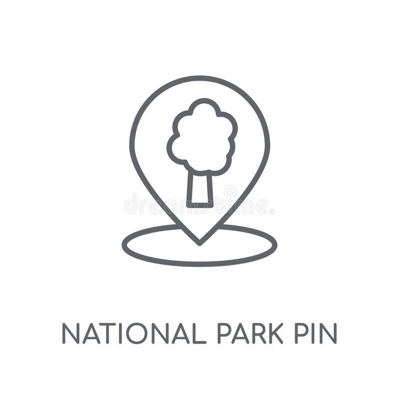 Icona lineare di Pin del parco nazionale Pin moderno del parco nazionale del profilo illustrazione di stock