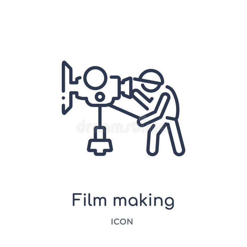 Icona lineare di produzione cinematografica da attività e dalla raccolta del profilo di hobby Vettore sottile di pellicola a alto illustrazione vettoriale