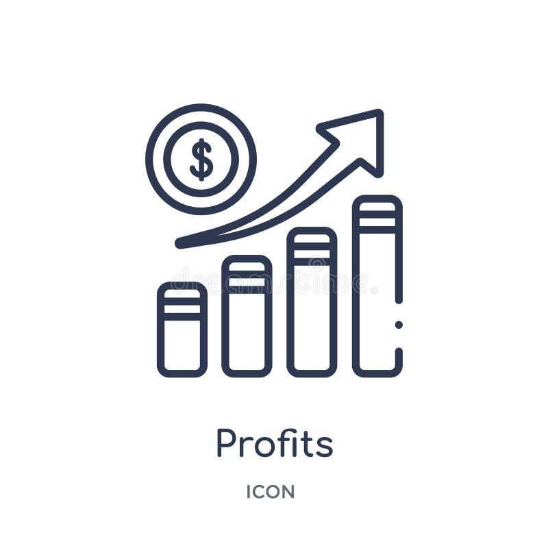 Icona lineare di profitti dalla raccolta del profilo di economia di Digital Linea sottile vettore di profitti isolato su fondo bi illustrazione vettoriale