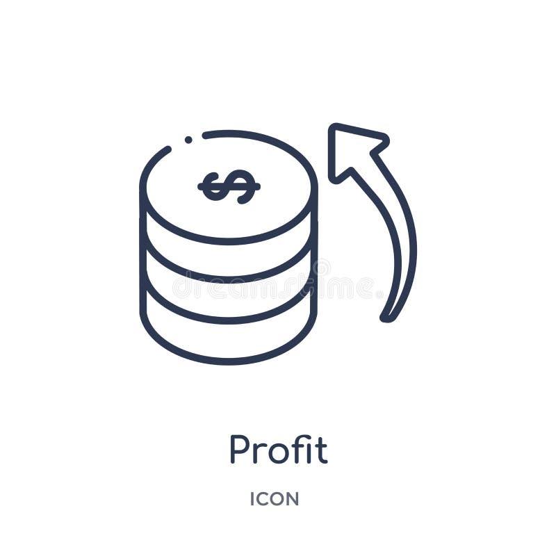 Icona lineare di profitto dalla raccolta del profilo di etica Linea sottile vettore di profitto isolato su fondo bianco profitto  illustrazione vettoriale