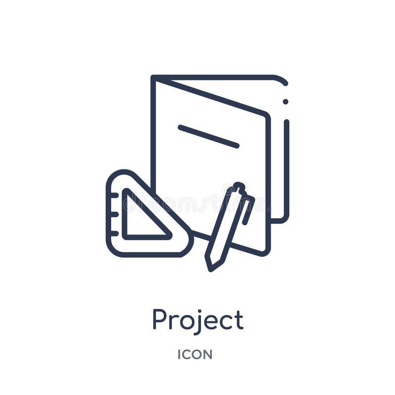 Icona lineare di progetto dalla raccolta del profilo di Crowdfunding Linea sottile vettore di progetto isolato su fondo bianco pr royalty illustrazione gratis