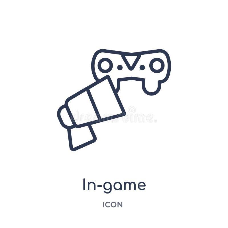 Icona lineare di pubblicità del in-gioco dalla raccolta del profilo generale Linea sottile icona di pubblicità del in-gioco isola illustrazione vettoriale