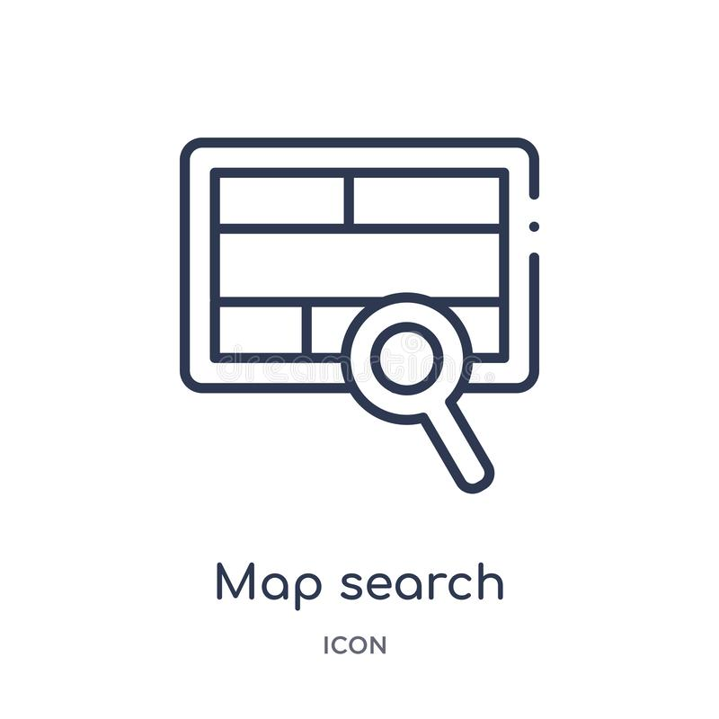 Icona lineare di ricerca della mappa dalla raccolta del profilo generale Linea sottile icona di ricerca della mappa isolata su fo illustrazione vettoriale