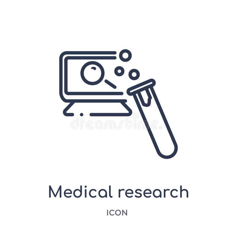 Icona lineare di ricerca medica da sicurezza di Internet e dalla raccolta del profilo della rete Linea sottile icona di ricerca m illustrazione vettoriale