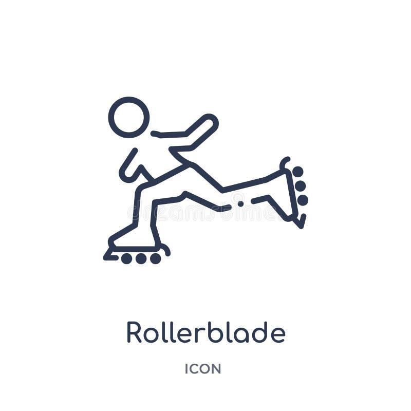 Icona lineare di rollerblade da attività e dalla raccolta del profilo di hobby Linea sottile vettore di rollerblade isolato su fo royalty illustrazione gratis