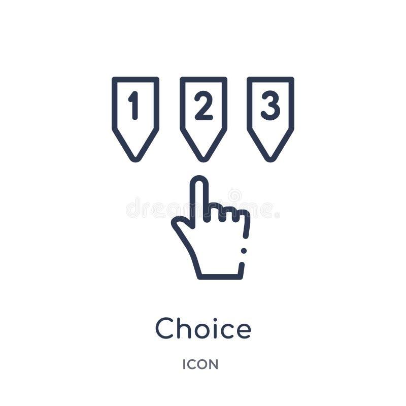 Icona lineare di scelta dalla raccolta del profilo di etica Linea sottile vettore di scelta isolato su fondo bianco scelta d'avan royalty illustrazione gratis