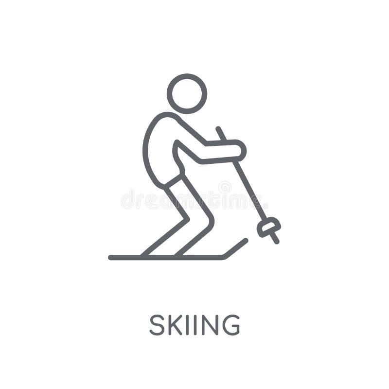 Icona lineare di sci Concetto di sci di logo del profilo moderno su bianco illustrazione vettoriale