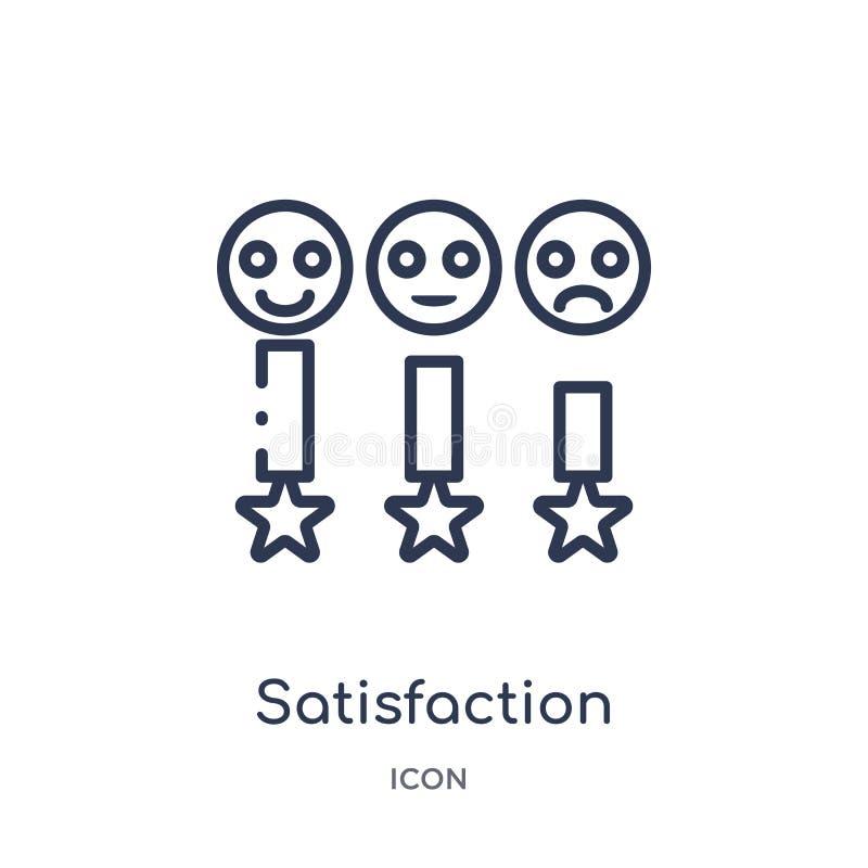 Icona lineare di soddisfazione dalla raccolta del profilo di risposte Linea sottile vettore di soddisfazione isolato su fondo bia illustrazione vettoriale