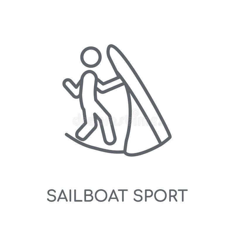 Icona lineare di sport della barca a vela Logo moderno c di sport della barca a vela del profilo illustrazione vettoriale