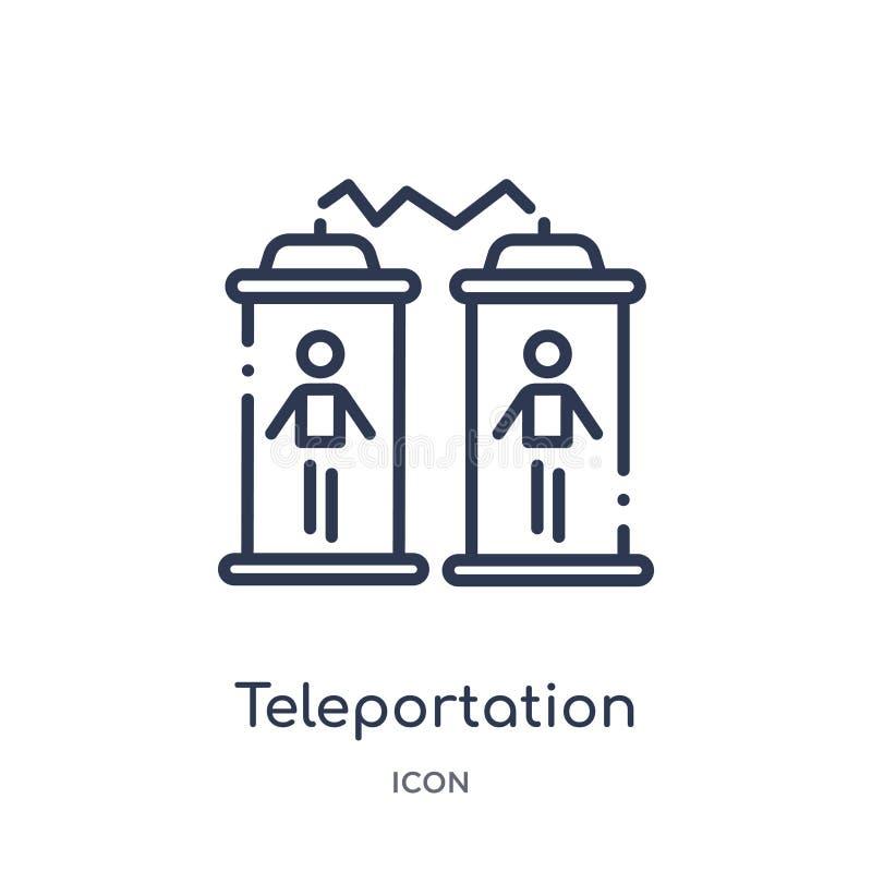 Icona lineare di teletrasporto dalla raccolta futura del profilo di tecnologia Linea sottile icona di teletrasporto isolata su fo illustrazione di stock