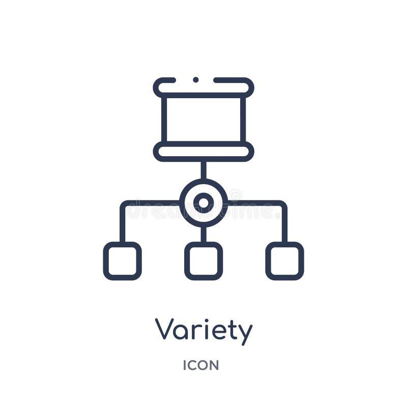 Icona lineare di varietà dalla raccolta del profilo di analisi dei dati e di affari Linea sottile vettore di varietà isolato su f illustrazione di stock