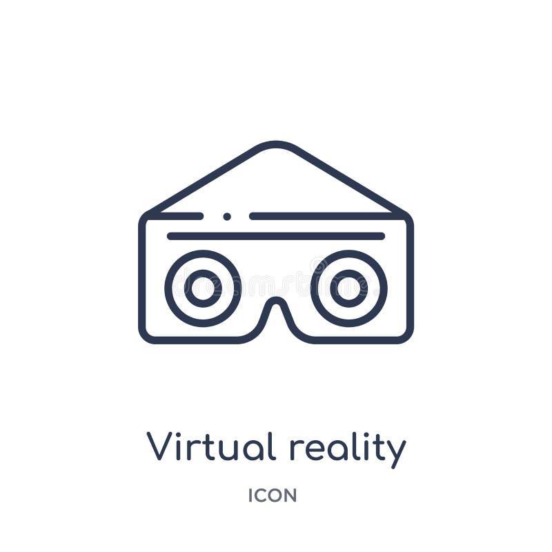 Icona lineare di vetro di realtà virtuale da spettacolo e dalla raccolta del profilo della galleria Linea sottile vettore di vetr royalty illustrazione gratis