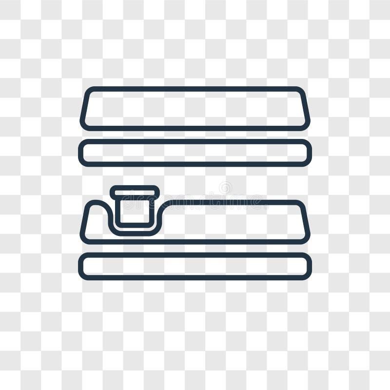 Icona lineare di vettore di concetto degli scaffali isolata su backg trasparente royalty illustrazione gratis