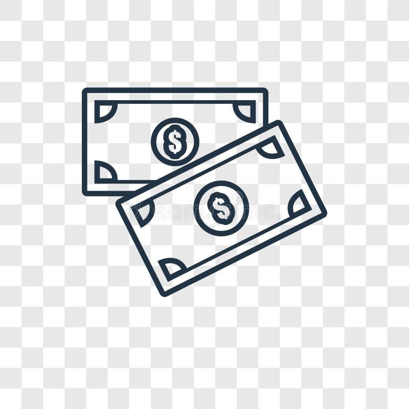 Icona lineare di vettore di concetto dei soldi isolata sul backgro trasparente fotografie stock