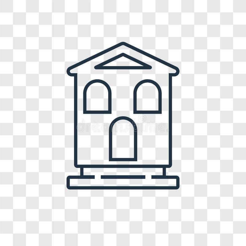 Icona lineare di vettore di concetto del chalet isolata su backgr trasparente royalty illustrazione gratis