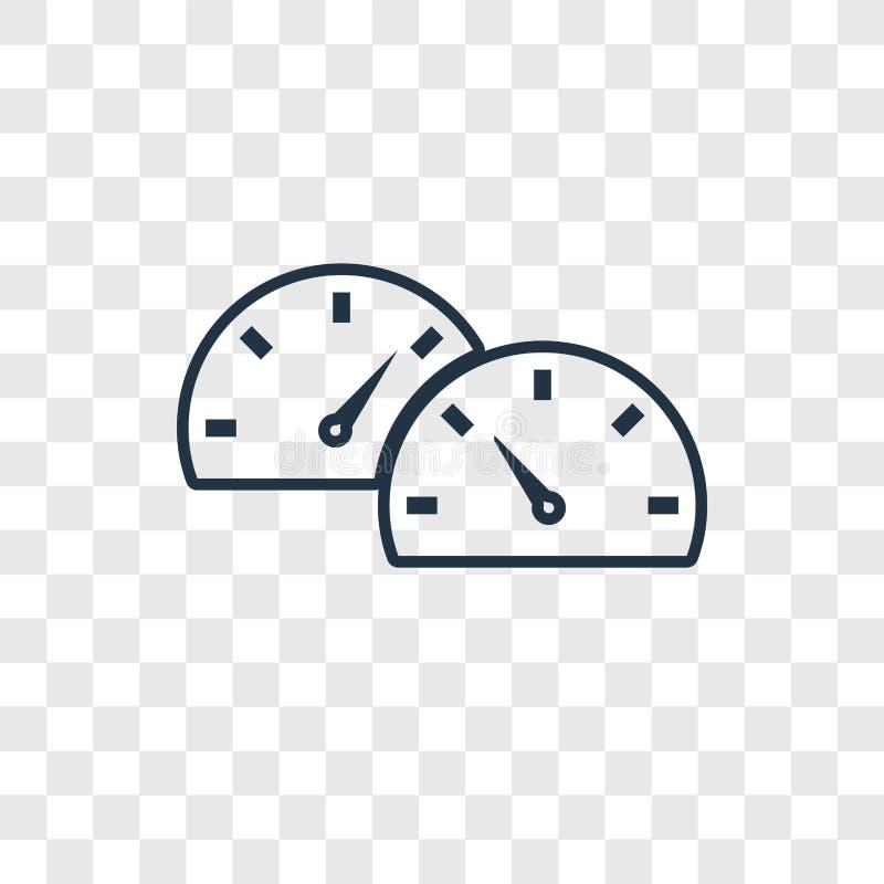 Icona lineare di vettore di concetto del cruscotto isolata sul BAC trasparente illustrazione vettoriale