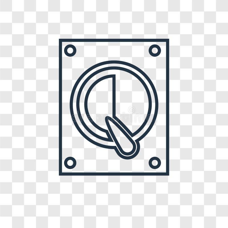 Icona lineare di vettore di concetto del disco rigido isolata sulle sedere trasparenti illustrazione di stock