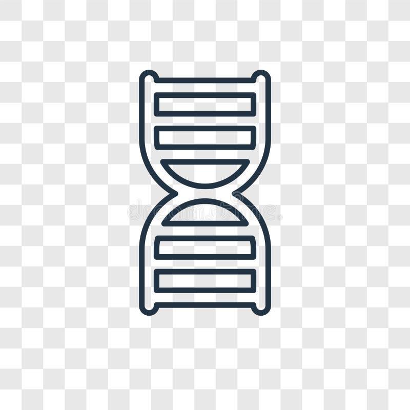 Icona lineare di vettore di concetto del filo del DNA sulle sedere trasparenti illustrazione di stock