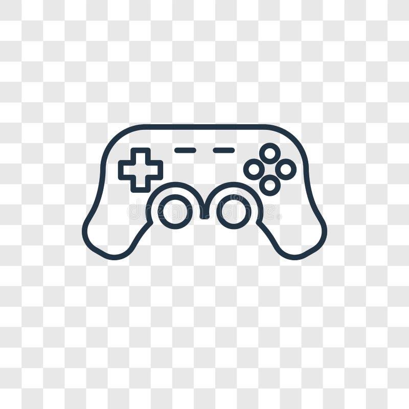 Icona lineare di vettore di concetto del giocattolo di Gamepad isolata sulla b trasparente illustrazione vettoriale